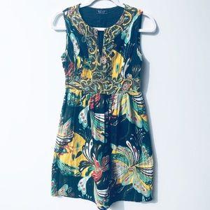 Elf & E Vibrant V Neck Sheath Dress S